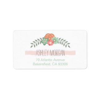 Simple Chic Blush Pink Stripe Mint Green Flowers Label