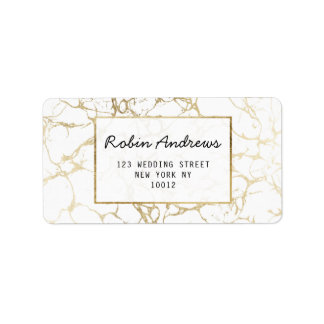 Simple chic faux gold white modern marble label