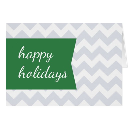 Simple Chic Green Tag Chevron Folded Holiday Card