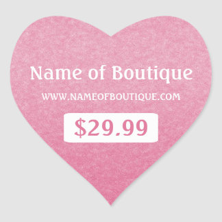 Simple Chic Pink Boutique Retail Sales Price Tags Heart Sticker