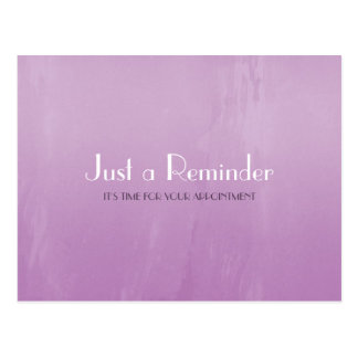 Simple Chic Purple Abstract Appointment Reminder Post Card