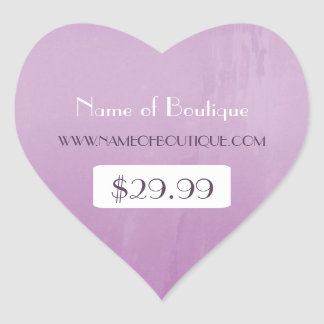 Simple Chic Purple Boutique Retail Price Tags Heart Sticker