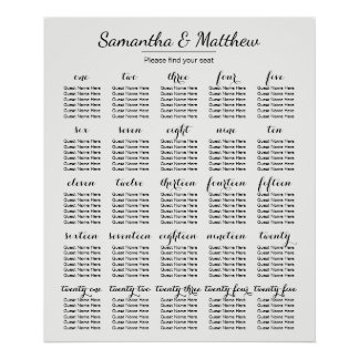 Simple & Chic Wedding -More Tables | Seating Chart Poster