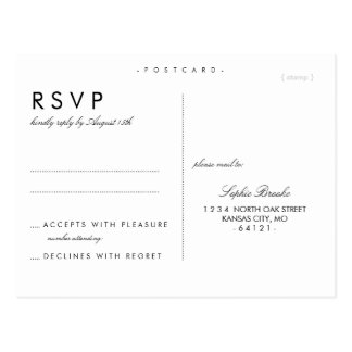 Simple Chic Wedding RSVP Postcard Template