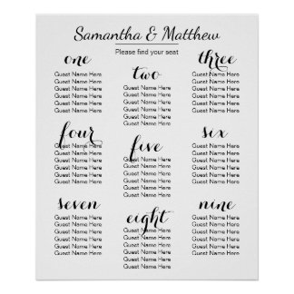 Simple & Chic Wedding (Scattered) | Seating Chart Poster
