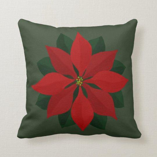 Simple Christmas Poinsettia on Green Cushion