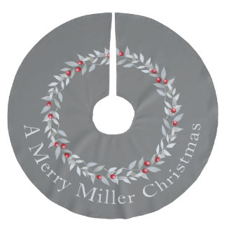 Simple Christmas Wreath Design - Grey & Red Brushed Polyester Tree Skirt