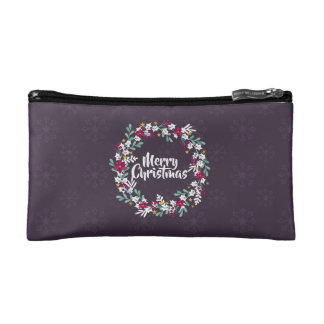 Simple Christmas Wreath Purple   Cosmetic Bag