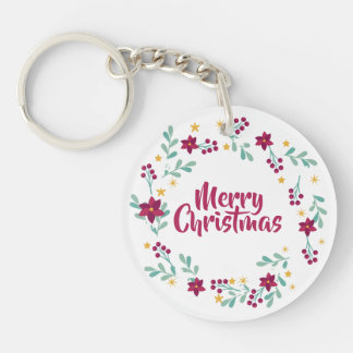 Simple Christmas Wreath Purple   Keychain