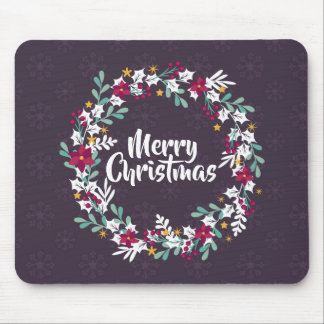 Simple Christmas Wreath Purple | Mousepad