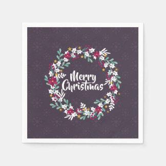 Simple Christmas Wreath Purple | Napkin Disposable Serviette