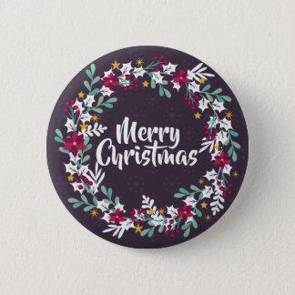 Simple Christmas Wreath Purple   Pin Button