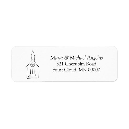 Simple Church Wedding Chapel Return Address Label