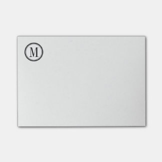 Simple Circle Border Initial White or Custom Color Post-it® Notes