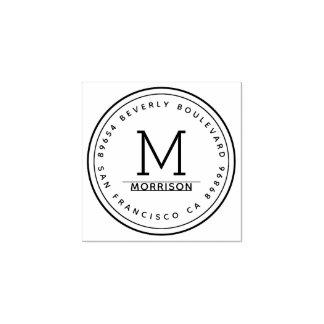 Simple Circular Border | Monogram Return Address Rubber Stamp