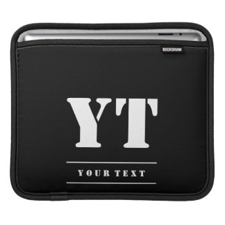 Simple Classic Black Monogram iPad Sleeve