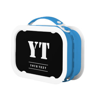 Simple Classic Black Monogram Lunch Box