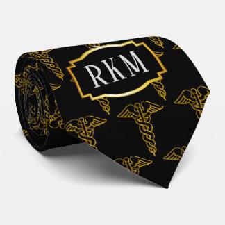 Simple Classy Elegant Gold Caduceus Medical Tie