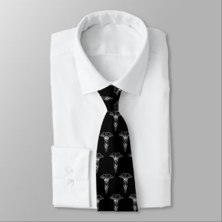 Simple Classy Elegant Silver Caduceus Medical Tie