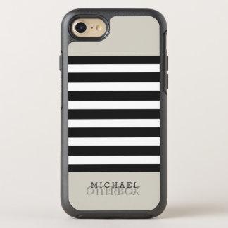 Simple Classy Linen Beige Black Grey Stripes OtterBox Symmetry iPhone 8/7 Case