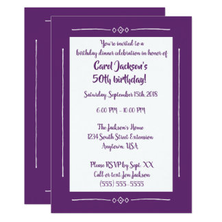 Simple Classy Purple on Purple All Occasion Party Card