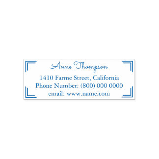 simple & clean address information blue self-inking stamp