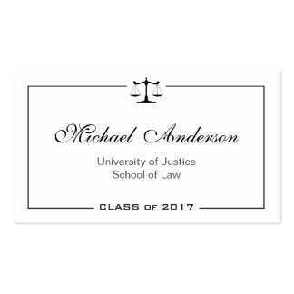 Simple Clean Black and White Law School Student Pack Of Standard Business Cards