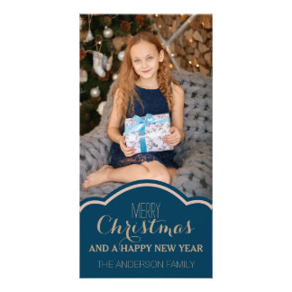 Simple Clean Blue Cream Christmas Holiday Photo Card