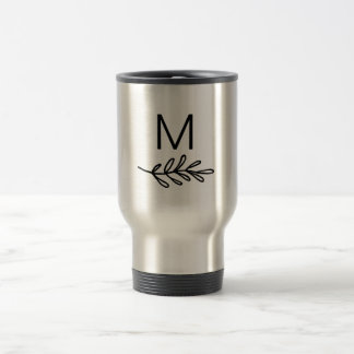 Simple Clean Botanical Line Drawing with Monogram Travel Mug