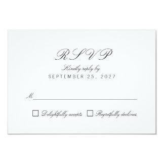 Simple Clean Chic Elegant White Response RSVP Card