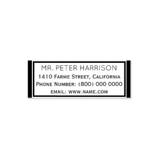 simple & clean classic address information box self-inking stamp