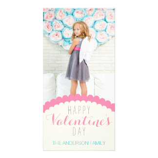 Simple Clean Cream Pink Blue Valentine Photo Card