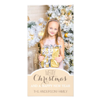 Simple Clean Cream White Christmas Holiday Photo Photo Greeting Card