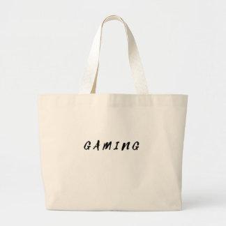 Simple Clean Gamer Gaming Black Text Large Tote Bag