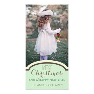 Simple Clean Green Cream Christmas Holiday Photo Customised Photo Card