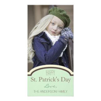 Simple Clean Green Cream St. Patrick's Day Photo Cards