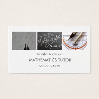 Simple Clean Mathematics Math Tutor Photo Collage Business Card