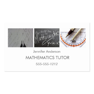 Simple Clean Mathematics Math Tutor Photo Collage Pack Of Standard Business Cards