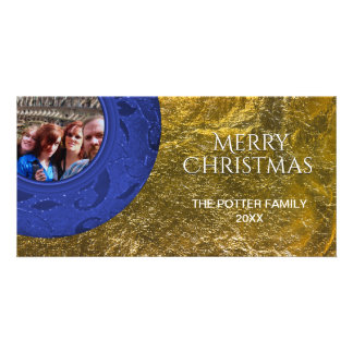 Simple Clean Merry Christmas Blue Faux Gold Foil Personalised Photo Card