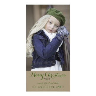 Simple Clean Rustic Green Christmas Holiday Photo Card