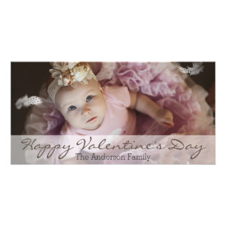 Simple Clean Valentine's Day Horizontal Photo Customised Photo Card