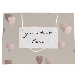simple clear rose gold foil love hearts, neutral large gift bag