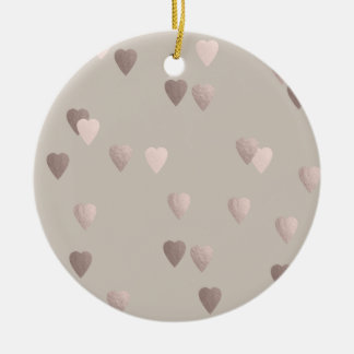 simple clear rose gold foil love hearts, neutral round ceramic decoration