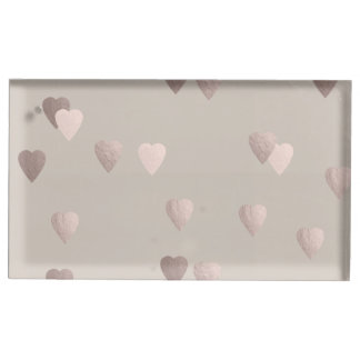 simple clear rose gold foil love hearts, neutral table card holders