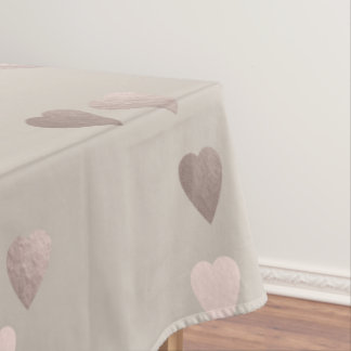simple clear rose gold foil love hearts, neutral tablecloth