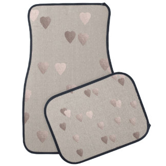 simple clear rose gold love hearts, neutral car mat