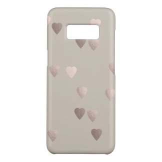 simple clear rose gold love hearts, neutral Case-Mate samsung galaxy s8 case