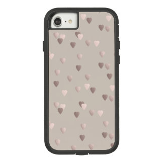 simple clear rose gold love hearts, neutral Case-Mate tough extreme iPhone 8/7 case