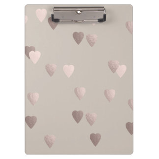 simple clear rose gold love hearts, neutral clipboard