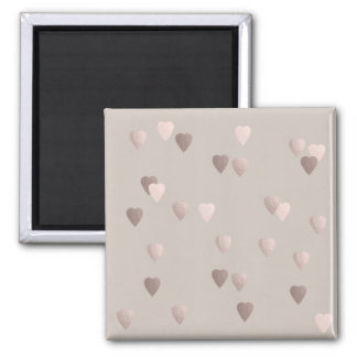 simple clear rose gold love hearts, neutral magnet
